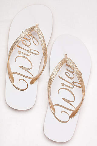 David S Bridal Yellow Flip Flops Wifey Glitter