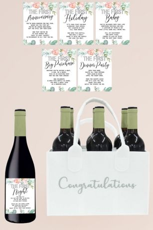 Wedding Milestone Wine Labels and Bottle Caddy