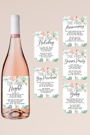 Marriage Milestone Floral Wine Label Set