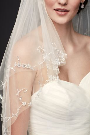 Two Tier Mid Length Veil with Beaded Edge