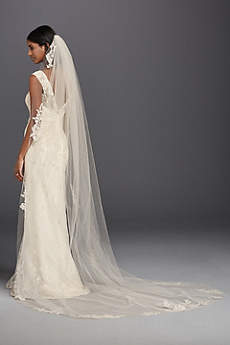 One Tier Sequin and Lace Cathedral Veil