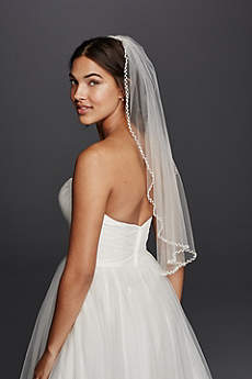 One Tier Beaded Edge Mid Length Veil