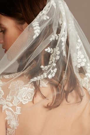 Cascading Floral Embroidered Fingertip Veil