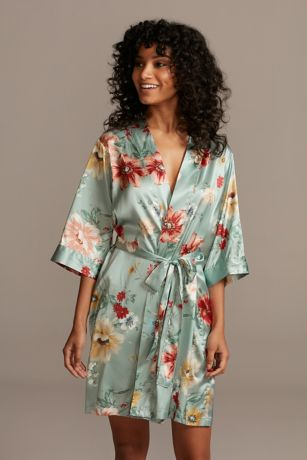 Painterly Floral Satin Robe