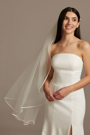 Tulle Finger-Length Veil with Satin Edge