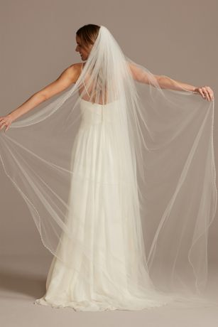 Bead and Pearl Trimmed Chapel Length Veil
