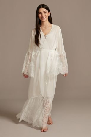 Chiffon Floor-Length Robe with Eyelash Lace Trim