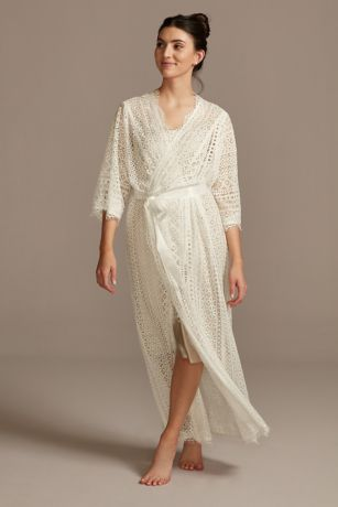 Crochet Lace Long Robe with Sash