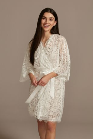 Crochet Lace Robe with Satin Sash