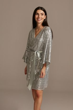 Allover Sequin Robe with Satin Sash