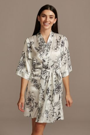 Drawn Blooming Floral Satin Robe