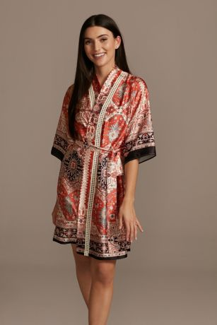 Scarf Print Satin Robe with Crochet Trim