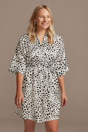 Cheetah Print Satin Robe