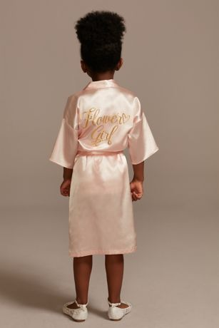 Satin Flower Girl Robe with Metallic Script