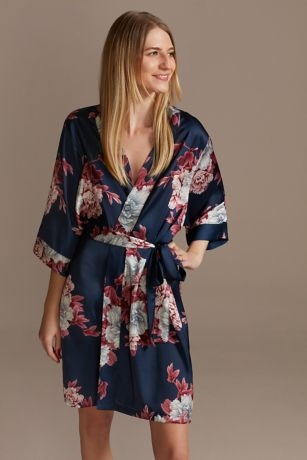 Marine and Wine Floral Satin Robe