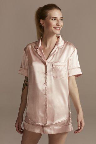 Solid Satin Short Pajama Set