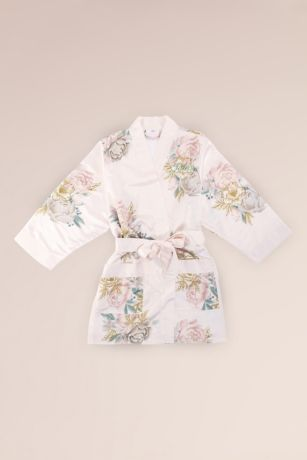 Floral Satin Flower Girl Robe with Pockets