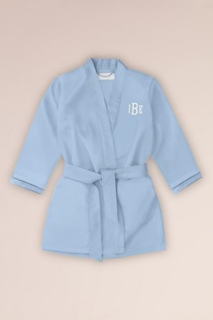 Embroidered Flower Girl Satin Robe with Pockets