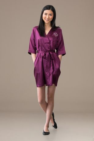 Embroidered Satin Robe with Pockets