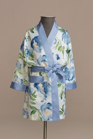 Personalized Watercolor Floral Girls Satin Robe