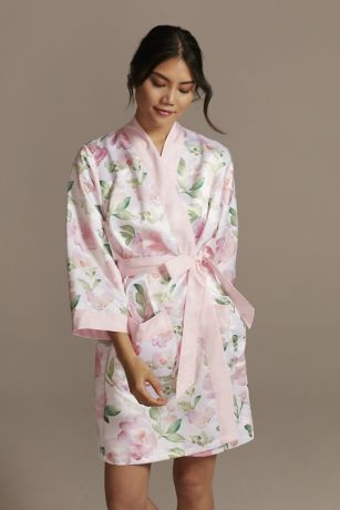 Personalized Watercolor Floral Satin Robe