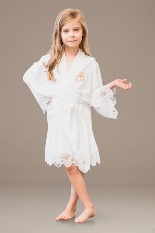 Flower Girl Embroidered Jersey Robe with Lace Trim