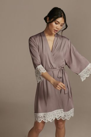 Embroidered Jersey Robe with Lace Trim