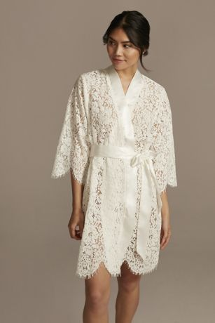 Bridal Embroidered Monogram Lace Robe