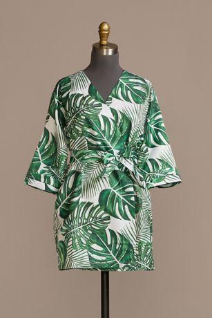 Tropical Embroidered Junior Bridesmaid Satin Robe