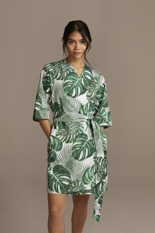 Tropical Embroidered Satin Robe