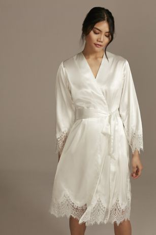 Satin Embroidered Robe with Lace Trim
