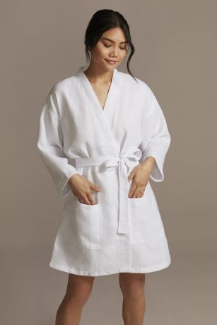 Embroidered Waffle Knit Robe