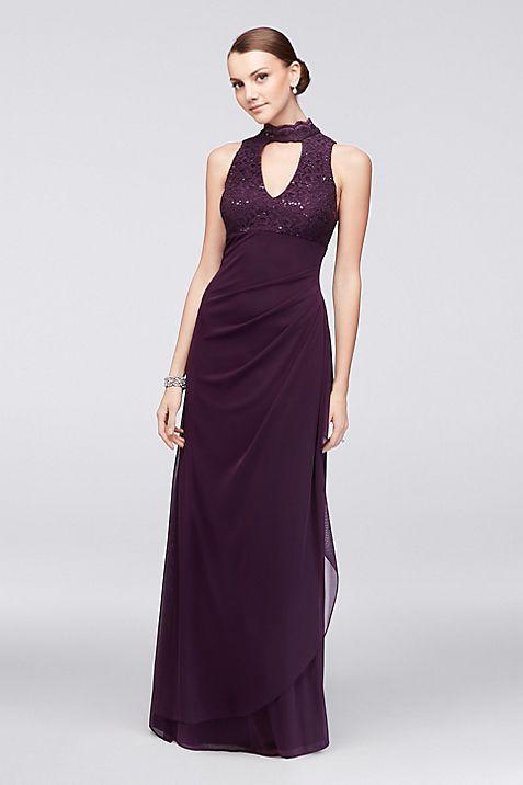 V-Neck Lace and Mesh Long Dress with Choker | David\'s Bridal