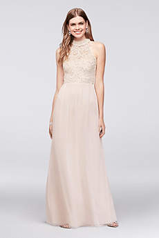 Chiffon High-Neck Illusion Gown with Back Detail