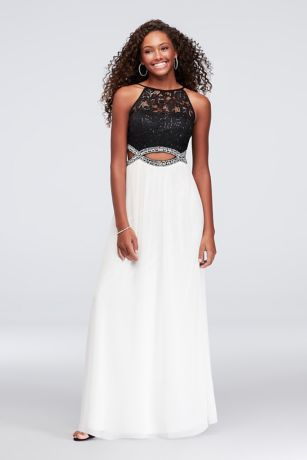 Sequin Lace and Chiffon Infinity Cutout Gown   David\'s Bridal