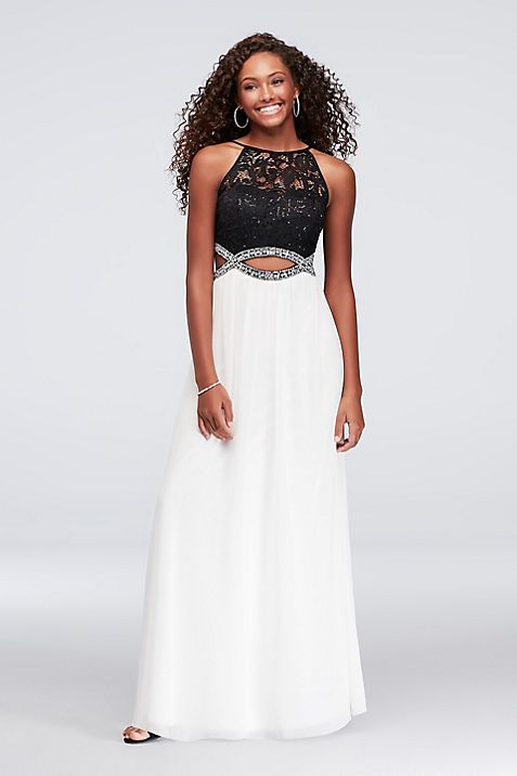 Sequin Lace and Chiffon Infinity Cutout Gown | David\'s Bridal