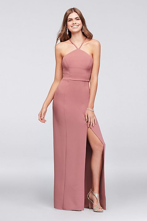 Stretch Crepe Sheath Gown with Strappy Back | David\'s Bridal