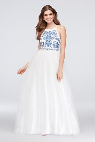 Embroidered Tulle Ball Gown with Strappy Back | David\'s Bridal