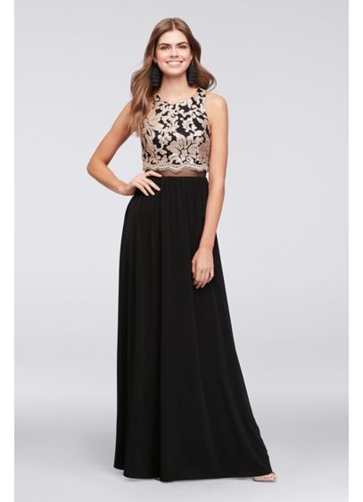 Illusion Waist Jersey Gown with Sequined Bodice | David\'s Bridal