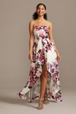High Low Ballgown Strapless Dress - Speechless