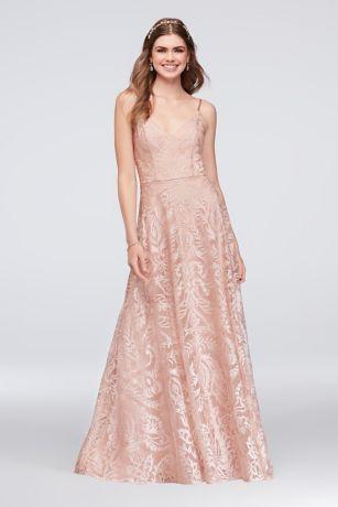 Embroidered Mesh A Line Slip Dress Davids Bridal