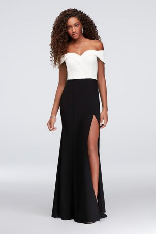 off the shoulder colorblock mermaid dress davids bridal