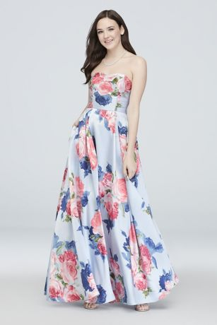 Floral Sweetheart Strapless Ball Gown with Pockets