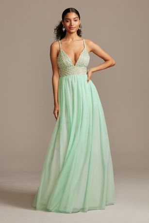 Embellished Gown with Pluging Beaded Bodice