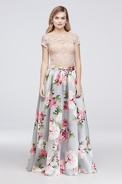 Floral-Printed Mikado and Lace Two-Piece Dress | David\'s Bridal