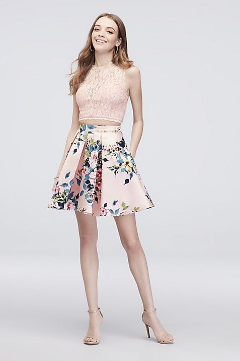 Glitter Lace Pleated Two-Piece Short Dress | David\'s Bridal