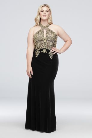 c3619feecad Round Neck Metallic Lace and Jersey Plus Size Gown
