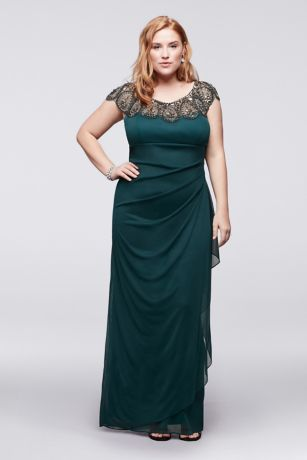 Plus Size Cap Sleeve Long Dress with Beading