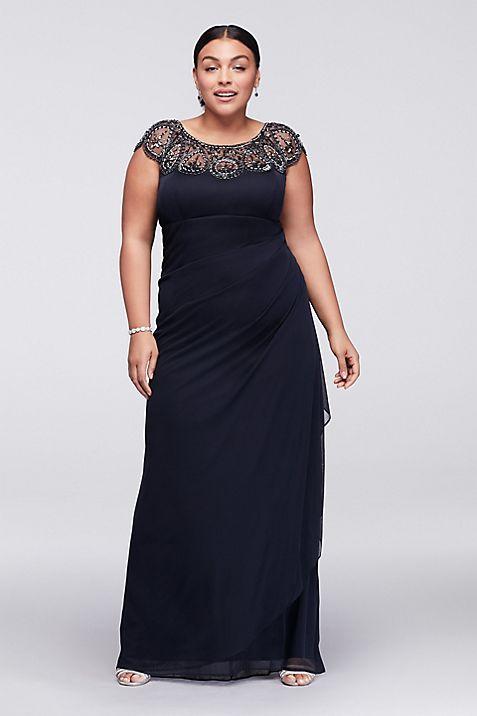 Cap Sleeve Plus Size Long Dress with Beading | David\'s Bridal