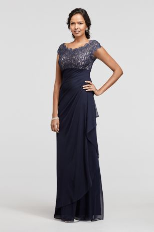 Long Mesh Dress with Lace Bodice and Cap Sleeves